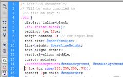Открыть файл с расширением LESS в Adobe Dreamweaver